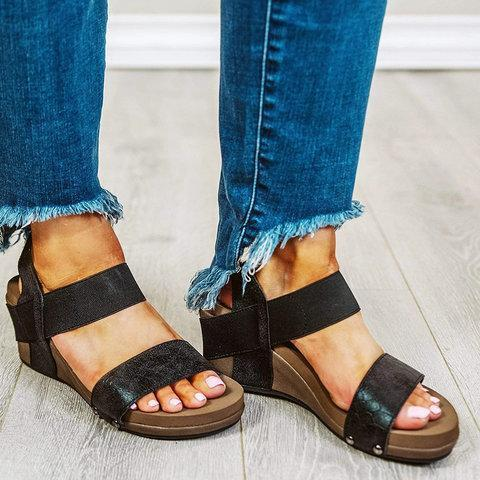 Artificial Leather Slip-On Womens Wedge Sandals