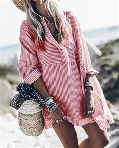 Women's Fashion  Striped Daily Dress Tops