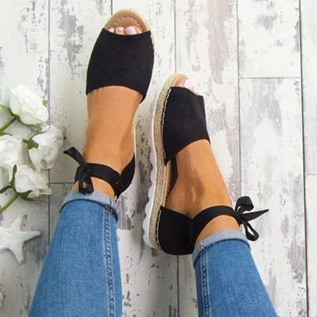 Platform Peep Toe Lace Up Summer Sandals