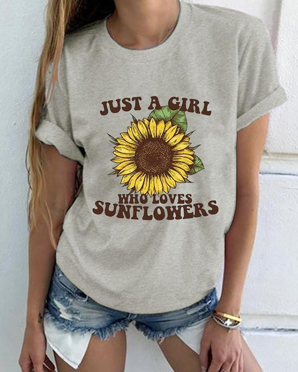 Sunflower Women Short Sleeve Shirt Printed Tops
