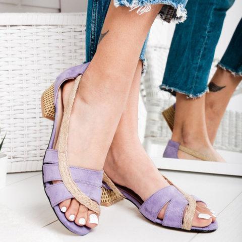 Chunky Heel Sandals Slip On Heels Open Toe Shoes