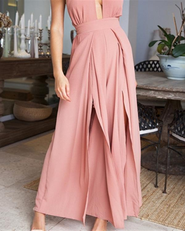 Sleeveless Backless Slim Strap Wide Leg Jumpsuit