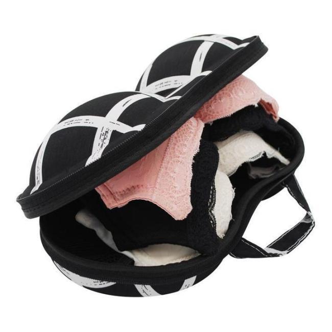 Travel Bra Bag Geometric Pattern Bra Storage Bag