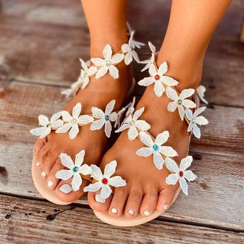 2020 Women  Flat Heel Boho Flower Sandals