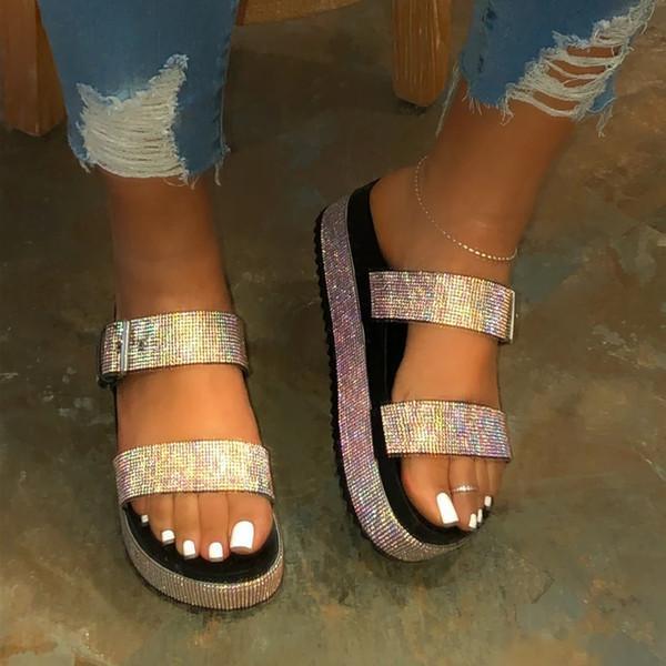 Pi Clue Rhinestone Summer Slippers