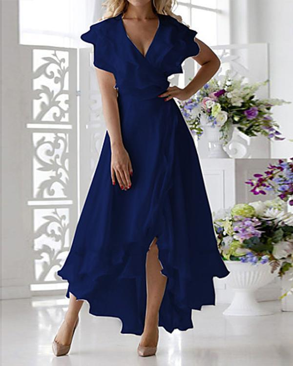 Women's Plus Size Vacation Daily Solid Color Sexy Petal Sleeve A Line Maxi Dress