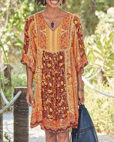 BOHEMIAN V NECK SHORT SLEEVE DRESSES