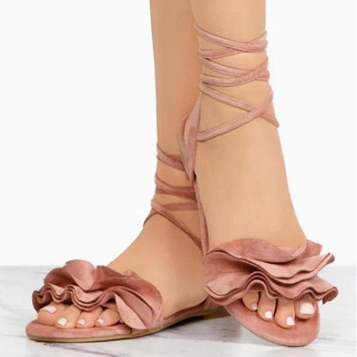 Large Size Women Summer Flocking Flower Bandage Flat Sandals Women Slipper Shoes
