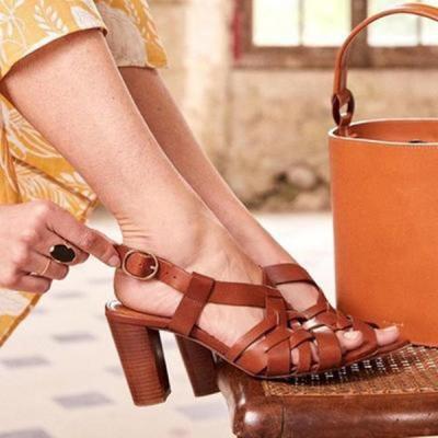 Women Casual PU Peop Toe Chunky Sandals