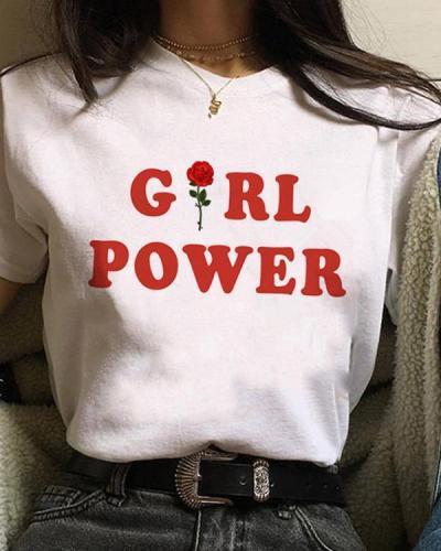 Women's Summer Short Sleeves Letter Printed T-shirt