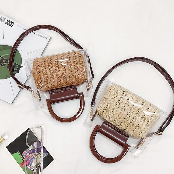 Women Transparent Straw Beach Bag Shoulder Bag