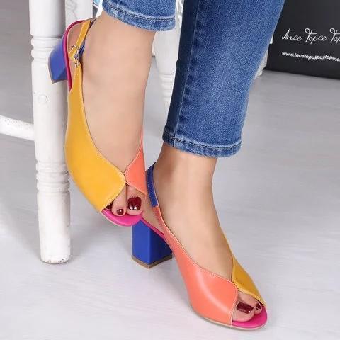 Adjustable Buckle Chunky Heel Peep Toe Heel sandals