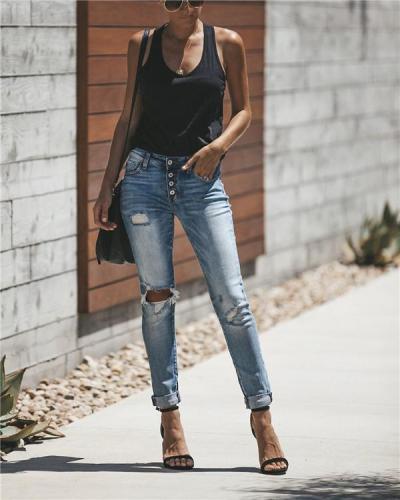 Women's  Vintage Urban Hollow Out Fashion Denim Bottoms Jeans Skinny Pants