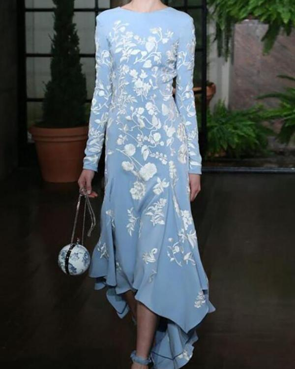 Floral Print Long Sleeve Asymmetric Maxi Dress