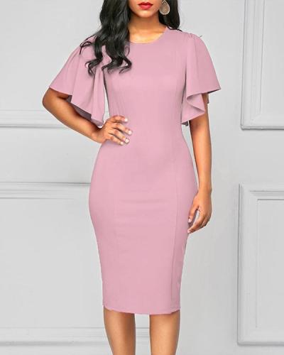Butterfly Sleeve Round Neck Back Slit Sheath Dress