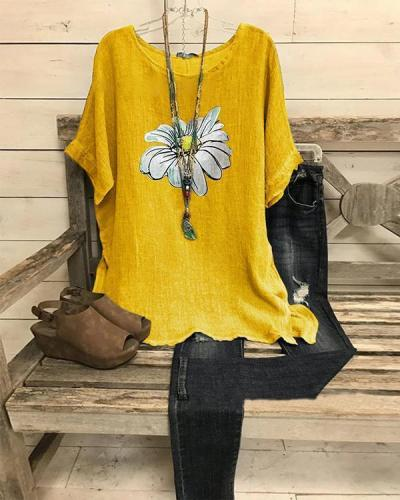 Summer Casual Retro Small Daisy Printed Short Sleeve Big Round Neck Loose Top