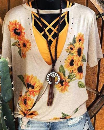 V Neck Sunflower Hollow Out Blouse
