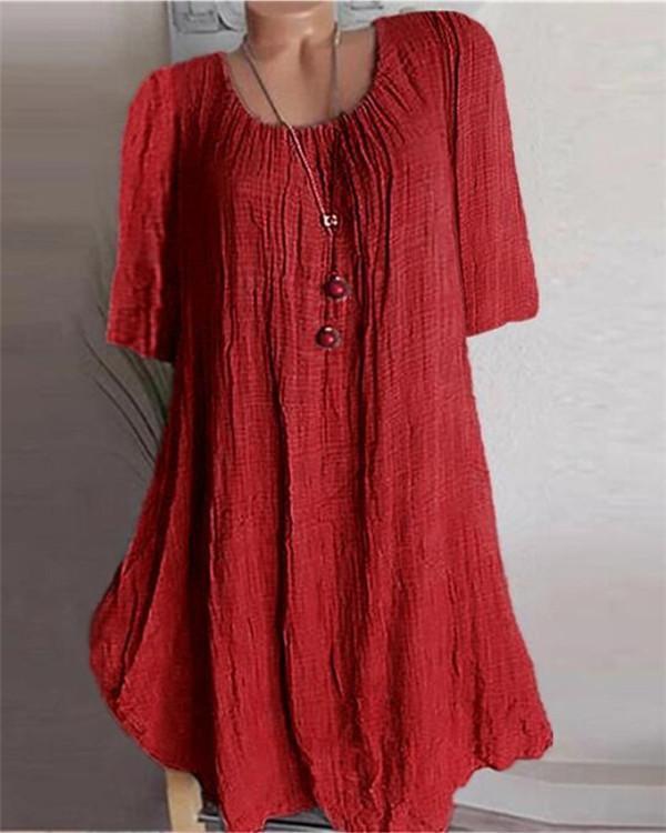 Plus Size Solid Linen Round Neck Skirt Mini Dress Tops