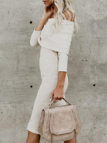 Off Shoulder White Sheath Women Daily 3/4 Sleeve Basic Paneled Fall Midi Dress