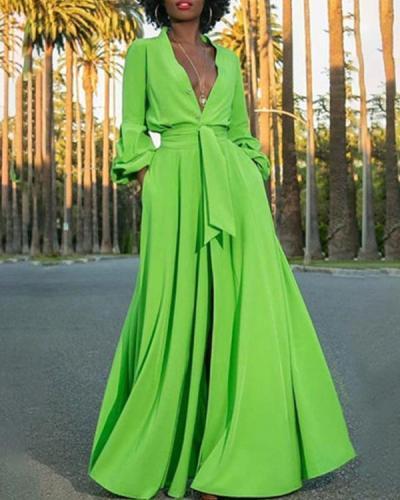 Vintage V Neck Long Sleeve Slit Maxi Dress