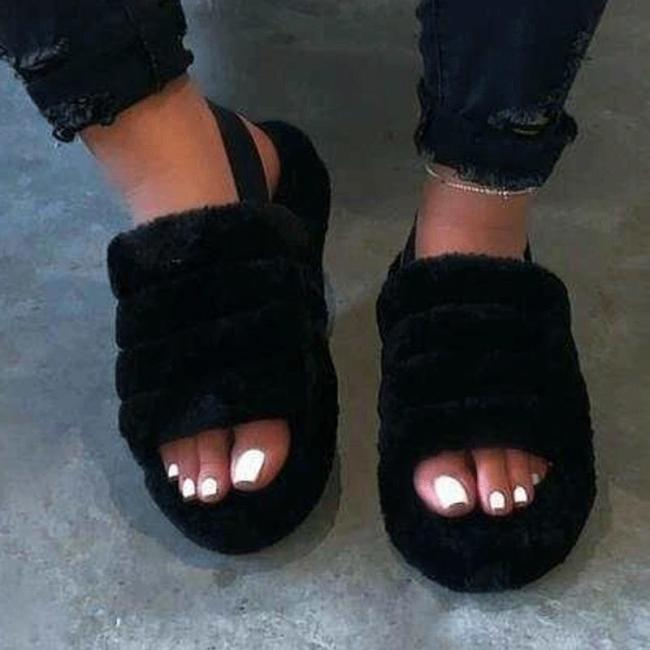 Hairy open-toed comfortably worn home slippers