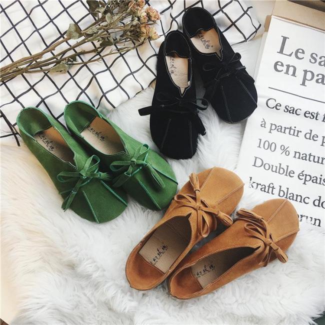Women Bowknot Flats Nubuck Flat Heel Shoes Slip On