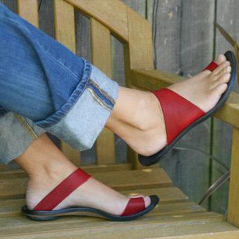 Sandals - Slip On Open Toe Flat Heel Sandals