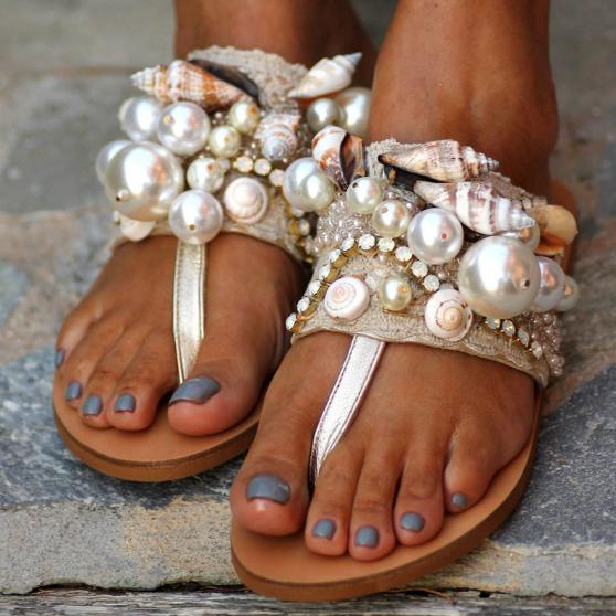 Women Conch Shell Crystal Beads String Flat Flip Flops 2020 Beach Sandals