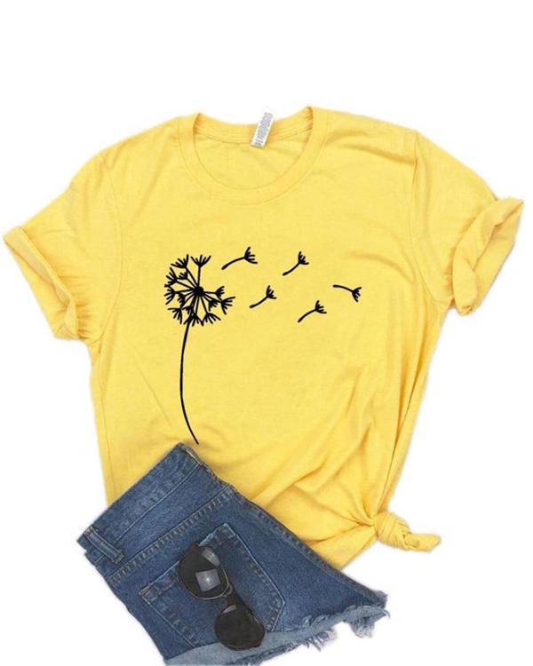 Women Print Crew Neck Casual T-shirts