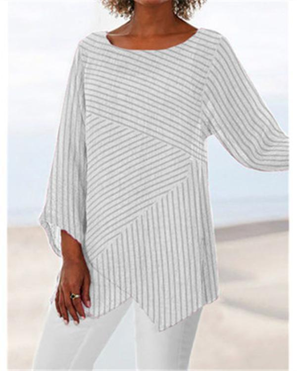 Striped Printed Casual Long Sleeve Shirts & Tops