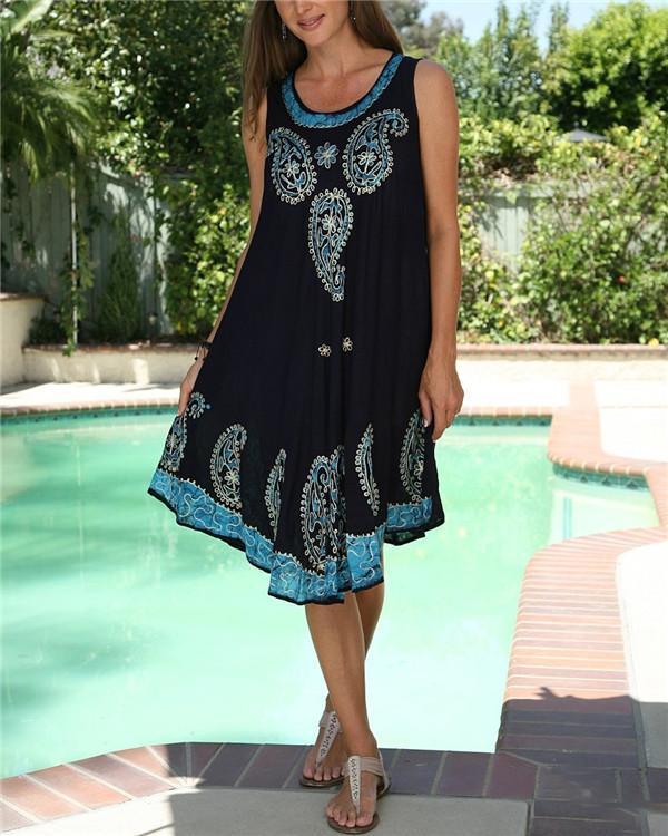 Printed Women Summer Sleeveless Vacation Dress