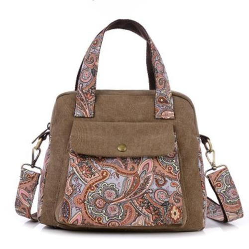 Women Vintage Floral Print Canvas Handbags