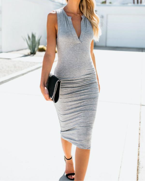 Women V Neck Daily Summer Dress Sleeveless Bodycon Dress