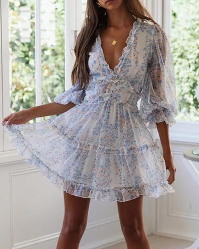 V-Neck Print Stitching Wooden Ear Long Sleeve Mini Dress