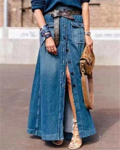 Shift Denim Vintage Solid Skirt