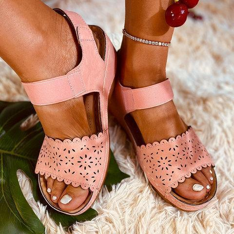 Summer Artificial Leather Low Heel Hollow-Out Sandals
