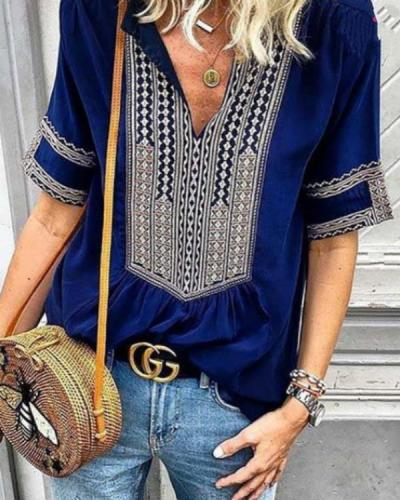Women Casual Ethnic Style Striped V-Neck Plus Size T-shirts Tops