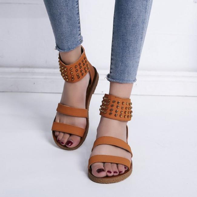Woman Fashion Leopard Strap Flat Rivet Ankle Beach Sandals