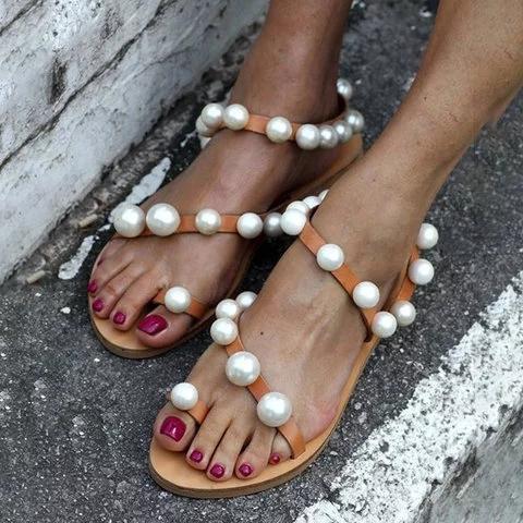 Womens Pearl Pu Casual Pearl Flat Heel Sandals