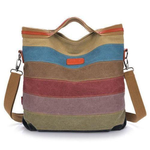 Color Striped Canvas Crossboby Shoulder Bag