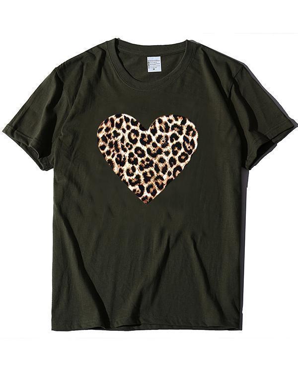 Print Love Heart T-shirt Ladies Short Sleeve Daily Tops