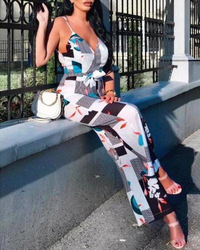 Women Summer Casual Sleeveless Loose Wide Leg Jumpsuit
