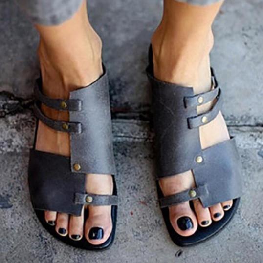Plain Flat Peep Toe Casual Sandals Slippers