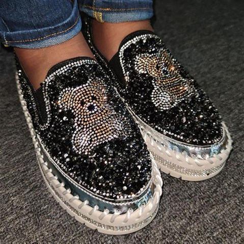 Women Bear Pattern Rhinestone Flat Shoes