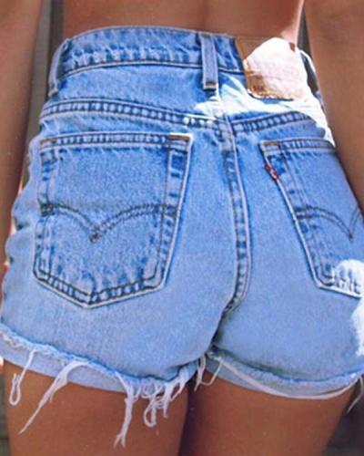 High Waist Versatile Pocket Sexy Denim Shorts