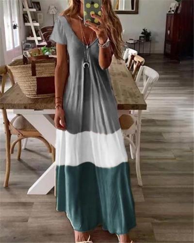 Summer Short Sleeve Bohemian Holiday Daily Fashion Maxi Dresses