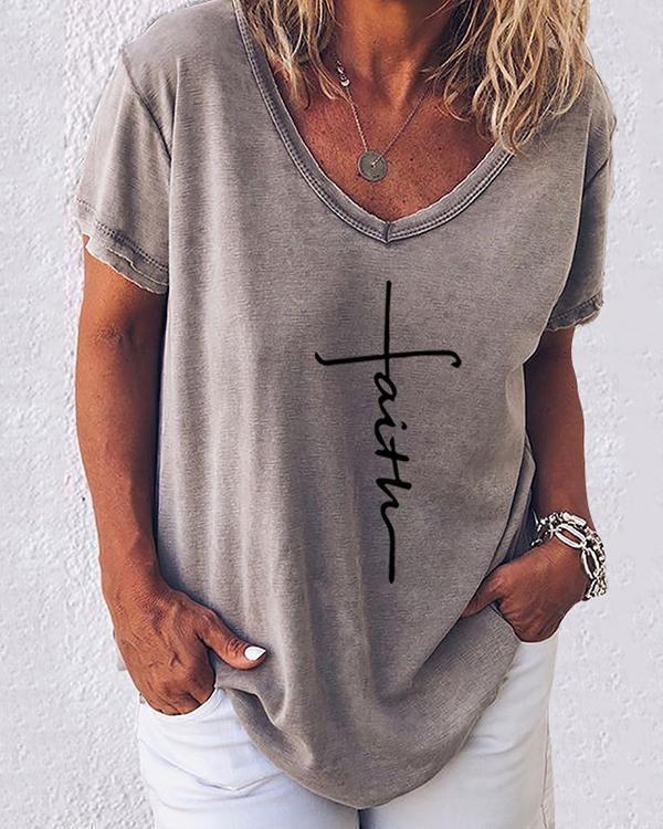 Print V-Neckline Short Sleeve Casual T-shirts