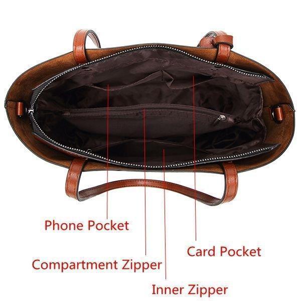 Women PU Leather Handbag Retro Crossbody Bag