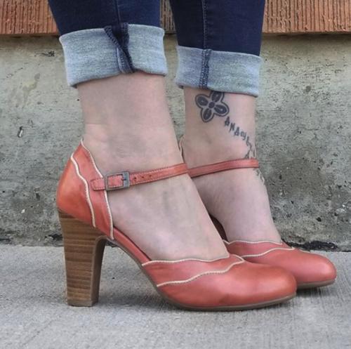 Buckle Strap Chunky Heel Sandals