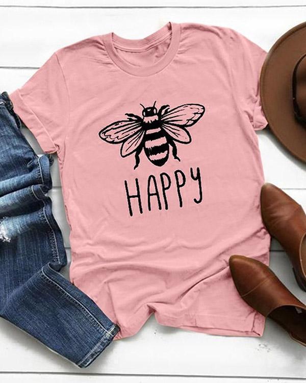 Plus Size Women Summer Tee Shirt Cotton Round Neck Bee Print T-shirts Tops